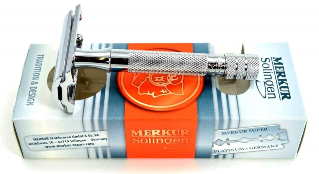 Picture of the Merkur 33C safety razor on top of retail packaging.