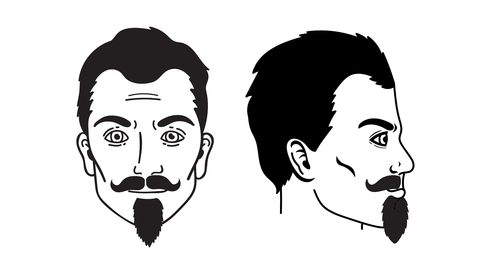 Chin Puff Goatee and Handlebar Mustache , a facial hair style